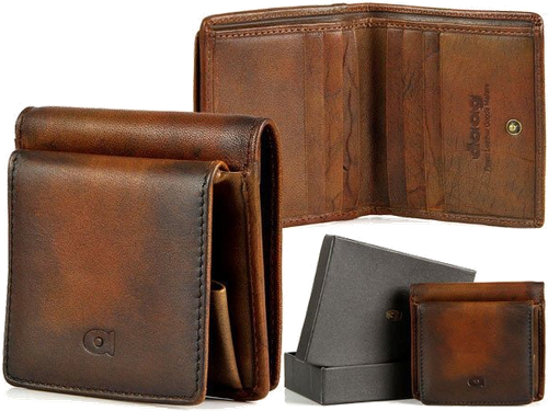 Portfel skórzany daag alive p-08 vintage koniakowy w pudełku - koniak
