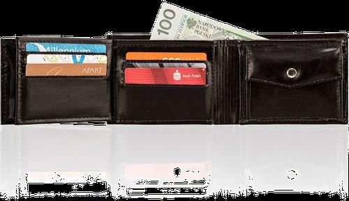 Skórzany portfel męski solier sw06 ciemnobrązowy - brązowy