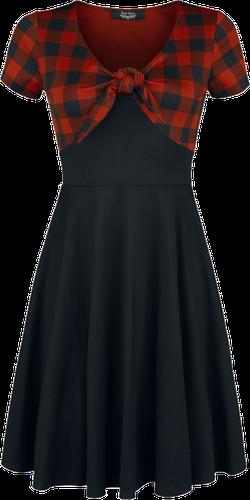 czarna z czerwoną kratką