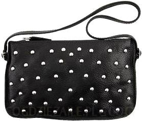 Prima Moda czrna torebka nabijana srebrnymi nitami