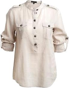 KappAhl pudrowa koszula z czarnymi guzikami