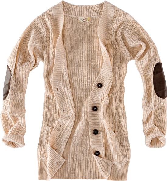 sweter kremowy z łatami pull&bear